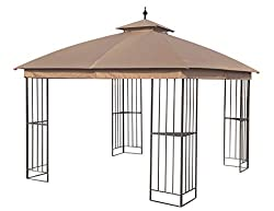 professional APEX GARDEN Canopy for Garden Treasure A 10×10 foot model of a semi-automatic pavilion made of brown metal with a square roof …