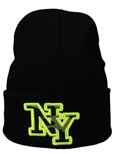 Basic Flap/Herren Wintermütze mit NY Stick en noir/jaune fluo