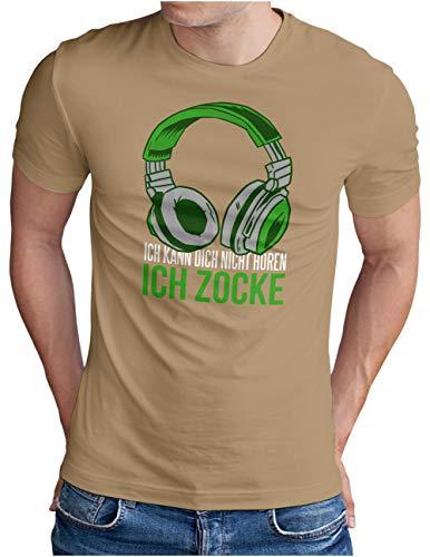 OM3® Gamer-ICH-ZOCKE T-Shirt | Herren | Video Game Console Gaming Headset | Khaki, L