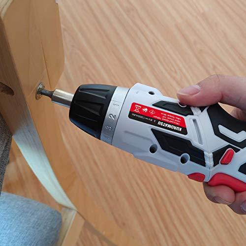 Kuromatsu電動ドライバー電動ドリル44本ビット1本延長棒正逆転切り替えトルク調整可LEDライト付きUSB充電ケーブル付き