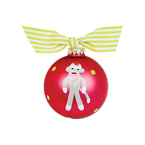 Coton Colors Sock Monkey Pink Glass Ornament
