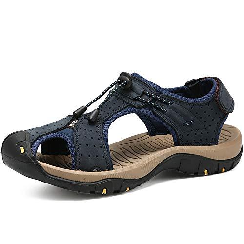CDYEGSJ Sandalias de Moda for Hombre Zapatos Huecos Transpirables en Ambos Lados Zapatos Transpirables elásticos con Cordones de Agua Ocasionales (Color : Blue, Size : 40 EU)