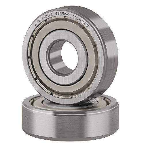XiKe 2 Pcs 6201ZZ Double Metal Seal Bearings 12x32x10mm, Pre-Lubricated and Stable Performance and Cost Effective, Deep Groove Ball Bearings.
