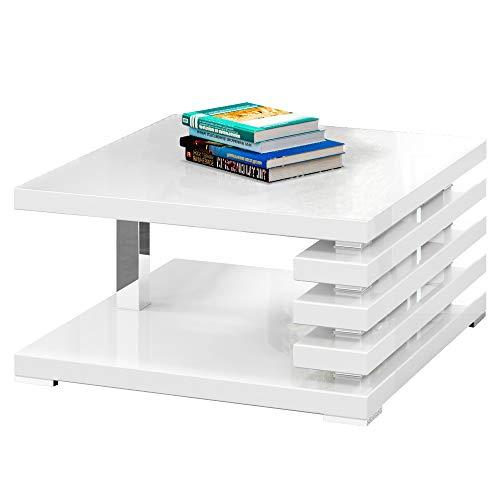 Selsey ARIENE - Table Basse Design (Blanc Brillant, 60x60 cm)
