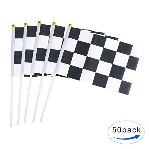 Kind Girl 50 Pack Checkered Flag Racing Flag Hand Held Stick Flags, Black & White Checkered Flag Racing Pennant Banner Flags,Decorations Supplies for Racing,Race Car Party,Sport Events,Kids Birthday
