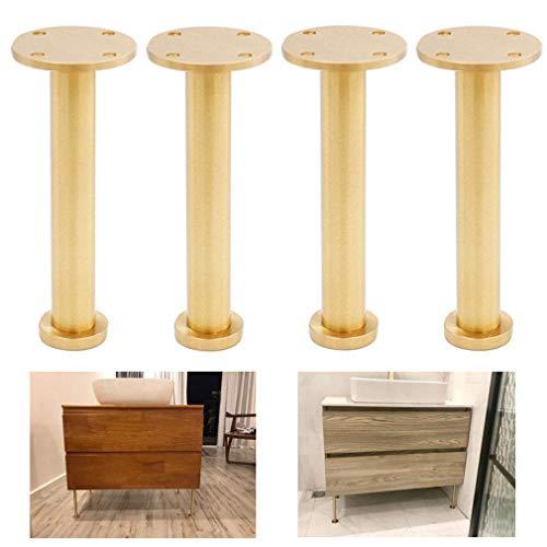 4 x meubelpoten, metalen bankpoten, massief zuiver messing, geborsteld gepolijst oppervlak, perfect voor bank salontafel antieke meubels (160 mm)