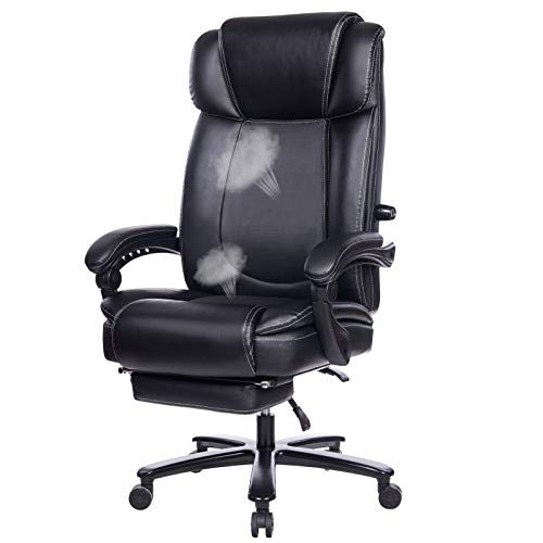 REFICCER Big & Tall Reclining Leather Office Chair