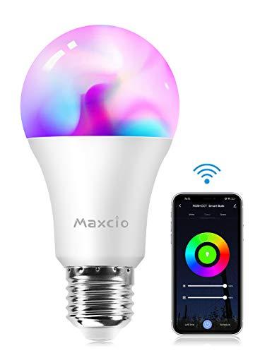 Smart Led Lampe, Maxcio Alexa Lampe, Wifi Glühbirne [E27, 9W], Sprachsteuerung mit Alexa und Google Home, Fernsteuerung via App, Timer Funktion, Buntes und Dimmbares Licht, 8 Szene-Modus - 1 Pack