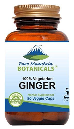Ginger Capsules - 90 Kosher Vegan Caps with 1000mg Organic Ginger Root