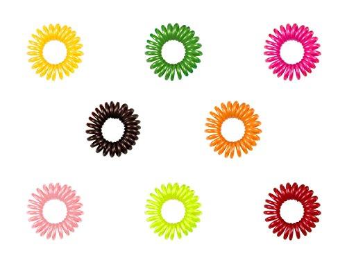 Alsino 10er Set Telefonkabel Haargummi Haarband Spirale Haarband Zopfgummi , Variante wählen:HG-21 bunt glänzend klein