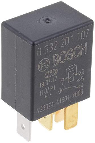 Bosch 0332201107 Micro relé de 12V 30A, IP5K4, temperatura de funcionamiento de -40° a 100°C, relé de 5 pines