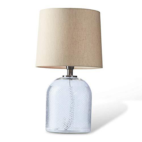 Loberon Tischlampe Montilier, Glas, Baumwolle, H/Ø ca. 53.5/30 cm, klar/creme