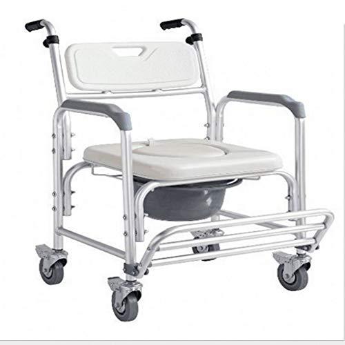 MRZZ Andadores estándar Silla para Silla de Ruedas con Ruedas, Silla de baño de Aluminio, Inodoro para Ancianos, Silla de Ducha móvil para Mujeres Embarazadas