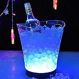 Eiseimer mit LED-Farbwechsel, 5 l, großer Kapazität, Kunststoff, Weinkühler, 7 Farben, Champagner, Wein, Bier, Eiskühler für Partys, Bar, Restaurant, Stromversorgung durch 2 AA-Batterien