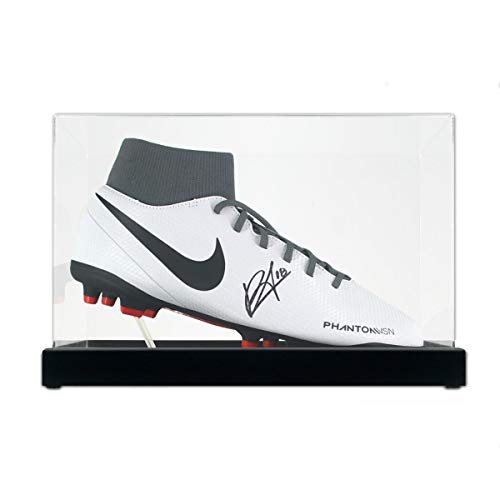 Bruno Fernandes Signed White Soccer Cleat. In Display Case   Autographed Memorabilia