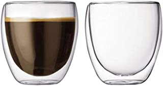 Double-Wall Insulate Glass, Espresso Shot Glass, Clear Shot Glasses for Coffee Shots,80ml Small Tea Bowl (Set of 2)