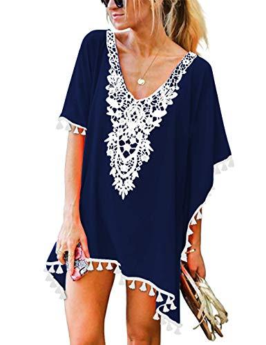 CPOKRTWSO Women V Neck Casual Cover UPS Mini Swimwear Swimsuit Dress Navy Blue L/XL