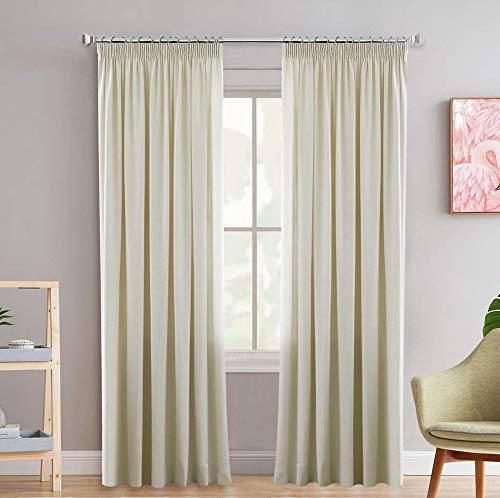 H.Versailtex Super Soft Pencil Pleat Blackout Draperies for Privacy Protected, Light Blocking Curtain for Nursery/Living Room with Two Free Tiebacks - Beige, 66' Width x 72' Drop, Set of 2 pieces