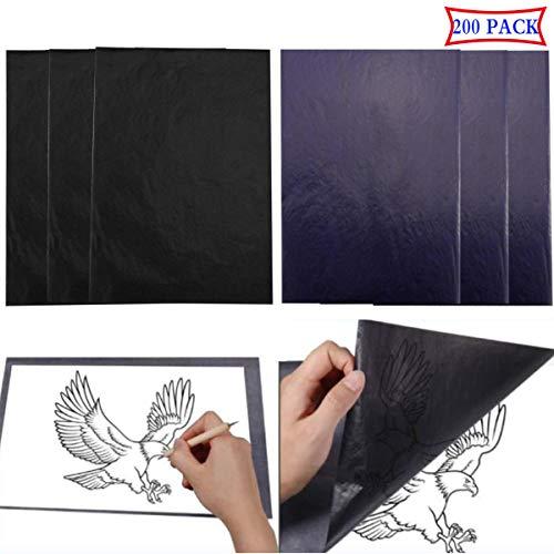 Liuer 200 vellen koolstofpapier transferpapier kopieerpapier zwart blauw DIN A4 pauspapier doorschrijppapier carbon papier grafietpapier voor hout, papier, zeildoek