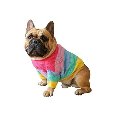 Khemn Bulldog Rainbow Knitted Sweater, Dog Pullover, Cute Dog Clothes for French Bulldog/English Bulldog/Bull Terrier/Pug (L)