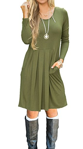 AUSELILY Women's Long Sleeve Pleated Loose Swing Casual Dress with Pockets Knee Length (S, Army Green)