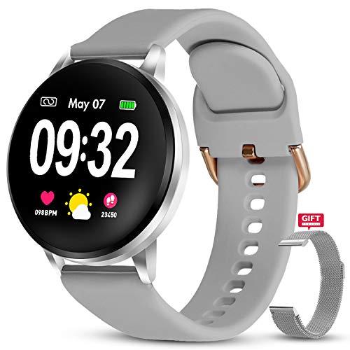 GOKOO Smartwatch Donna Uomo IP67 Impermeabile Full Touch Screen Cardiofrequenzimetro e Contapassi e Calorie da Polso Cinturino in Metallo siliconico Fitness Tracker Compatibile Android e iOS (Argento)