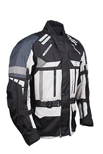 ROLEFF RACEWEAR RO 775 lange Textil Motorradjacke, gut belüftete Tourenjacke, grau/schwarz, Größe S