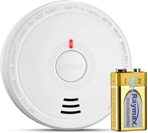 Isafenest Detector de Humo, Alarma de Humo que Batería funciona con Sensor Fotoeléctric, Alarma Luz/Voz, Recordatorio de Batería Baja, Botón de Prueba, Adecuado para Casa Escuela Oficina, Blanco