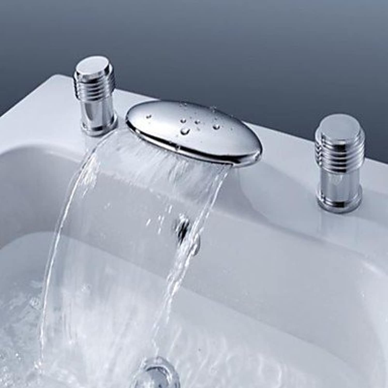 GDS Faucet£? Has two contemporary ceramic valve wide waterfall handles for Chrome bathroom sink faucet three-hole