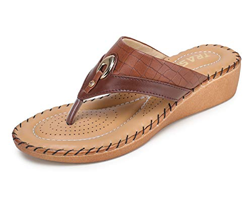 TRASE 44-076 Brown Ortho Doctor Slippers for Women - 7 UK