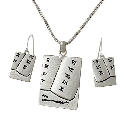 Things2die4 Ensemble collier et boucles d'oreilles Dix Commandements