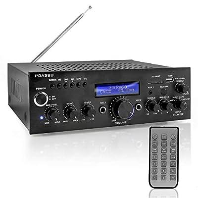 Pyle PDA5BU Bluetooth Stereo Amplifier, Compact Amp Receiver, AM/FM/USB/AUX, 200 Watt