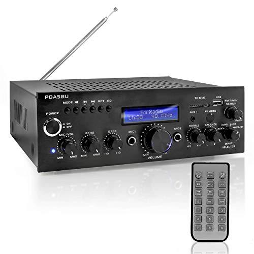 Pyle PDA5BU.0 200W Audio Stereo Receiver-Wireless Bluetooth Power Amplifier Home Entertainment System w/AUX in, USB Port, 2 Karaoke Microphone Input, Remote , Black