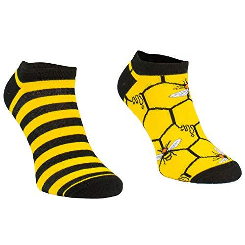 Comodo - Bienen Socken für Damen und Herren aus Baumwolle|Kurze Motivsocken mit lustigem Muster|Bunte Freizeitsocken Kinder|Männer und Frauen SKS gr 35-38 002 3 Paar kurz Biene