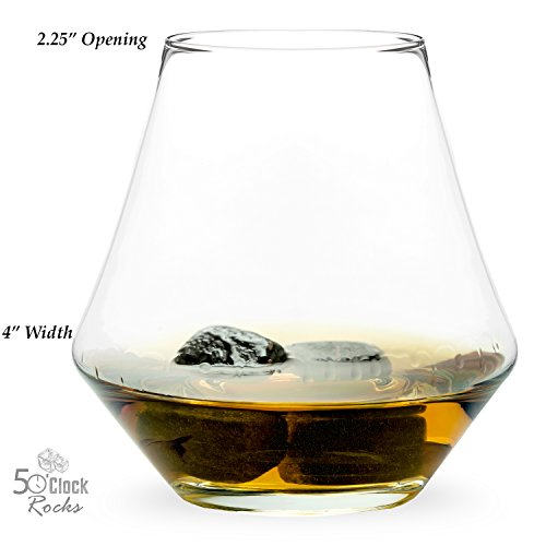 5 O'Clock Rocks 11 oz Snifter, Perfect for any Occasion (Set of 2). Unique Glasses that Make a Great Gift Set or Addition to Your Bareware.
