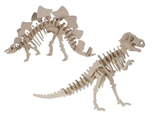 Bada Bing 2er Set Naturholz 3D Puzzle Dinos Holz Puzzle Dinosaurier Skelett Zum Basteln Und Konstruieren 45