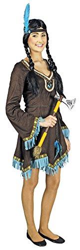 Körner Festartikel Indianerin Kleiner Pfeil Kostüm für Damen, Braun / Blau / Mehrfarbig, 40-42