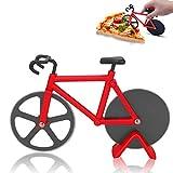 Sinwind Bicicleta Cortador de Pizza, Rueda de Cortador de Pizza de Acero Inoxidable, Rueda de Corte de Acero Inoxidable con Revestimiento Antiadherente con Soporte (Rojo)