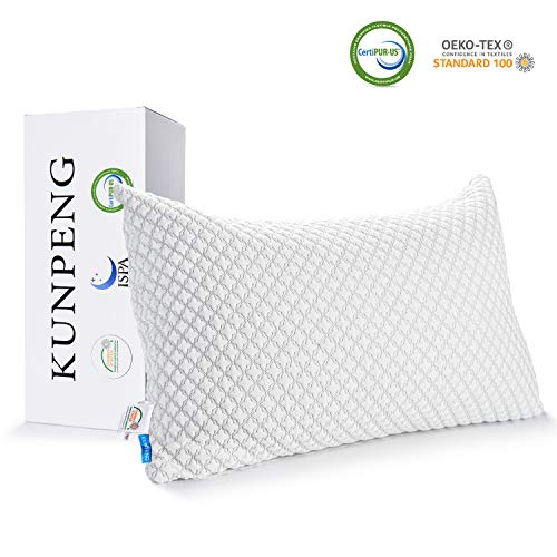 Pillows for Sleeping, KUNPENG Cooling Pillow with Hypoallergenic Bamboo Cover, Adjustable Shredded...