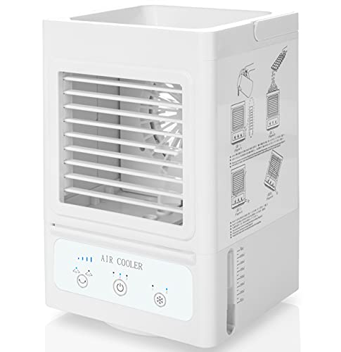 KIDWILL Air Cooler Personal Space Cooler 5000mAh Portable Mini Air Conditioner Cooling Fan Auto Oscillation 60°/120°, 3 Wind Speeds,3 Cooling Levels, Mobile Air Conditioning for Home Office Outdoor