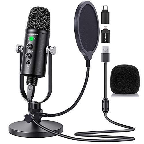 Microphone for Podcast, PROAR USB Microphone Kit for iPhone, PC/Micro/Mac/iOS/Android,Professional Plug&Play Studio Microphone with Stand for Gaming, Online Chatting, Videos, Voice Overs, Streaming