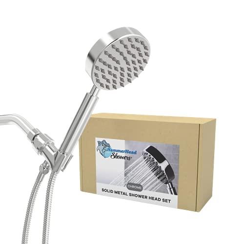 All Metal Hand Held Shower Head with Hose and Holder, Polished Chrome | 2.5 GPM High Flow Regulator with Pressure Optimization | 4' Handheld Showerhead, 72 Inch Long Flexible Hose, Adjustable Bracket