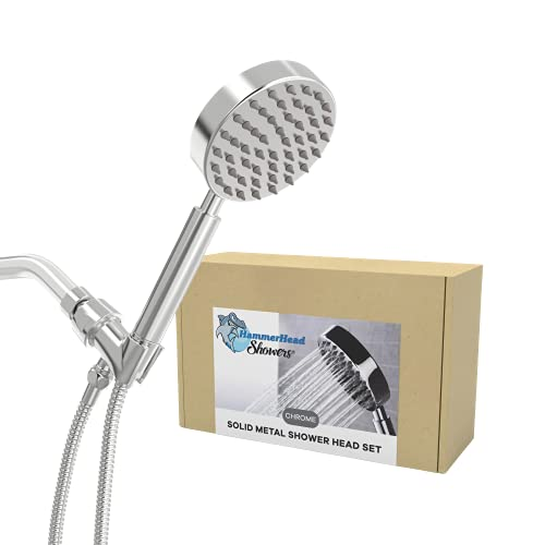 All Metal Hand Held Shower Head with Hose and Holder,...