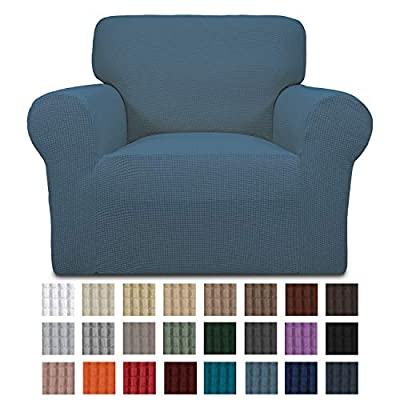 Easy-Going Stretch Sofa Slipcover 1-Piece Sofa Cover Furniture Protector Couch Soft with Elastic Bottom for Kids,Polyester Spandex Jacquard Fabric Small Checks(Chair,Bluestone)