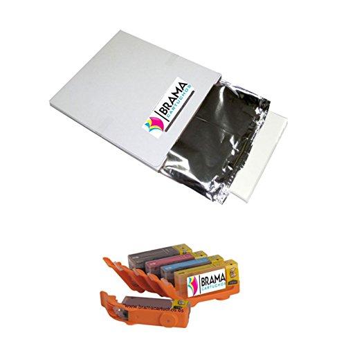 Bramacartuchos - PACK de Una caja de 25 laminas de papel de azucar A4 y 5 X Cartuchos comestibles PGI570 CLI571