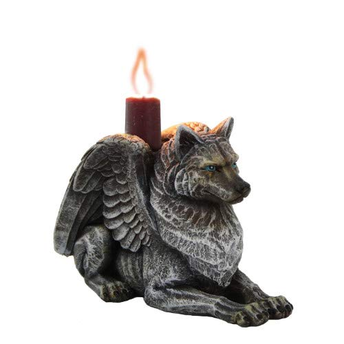 Pacific Giftware Winged Gargoyle Wolf Candle Holder Collectible Figurine 3.75 Inches Tall