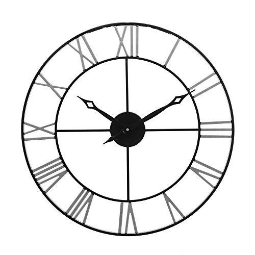 Reloj de pared grande, redondo de 24 pulgadas, estilo antiguo número romano, decoración del hogar, reloj de metal, silencioso, funciona con pilas, reloj de pared decorativo (plata y negro)