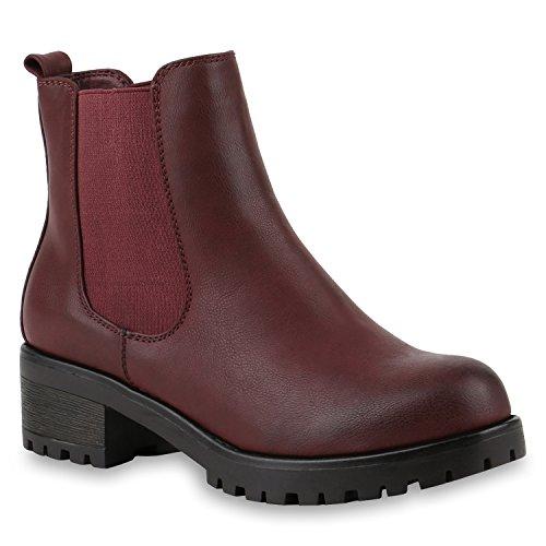 Stiefeletten Damen Chelsea Boots Profilsohle Blockabsatz Leder-Optik Booties Schuhe 145504 Dunkelrot 37 Flandell