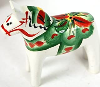 Traditional Wooden Swedish Dala Horse - White 2