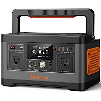 PROGENY 500W Generator Portable Power Station, 520Wh Lithium Battery with 110V AC Outlet, 4 DC 12V Ports, Type C/QC/Car Port/USB, Solar Generators for Camping CPAP Emergency Home Outdoor RV Van